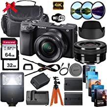 $1049 » Sony Alpha a6400 Mirrorless Digital Camera with 16-50mm Lens + 64GB & 32GB Memory Cards, Sturdy Equipment Carrying Case, Spider Tripod, Camera Flash, Software Kit and More