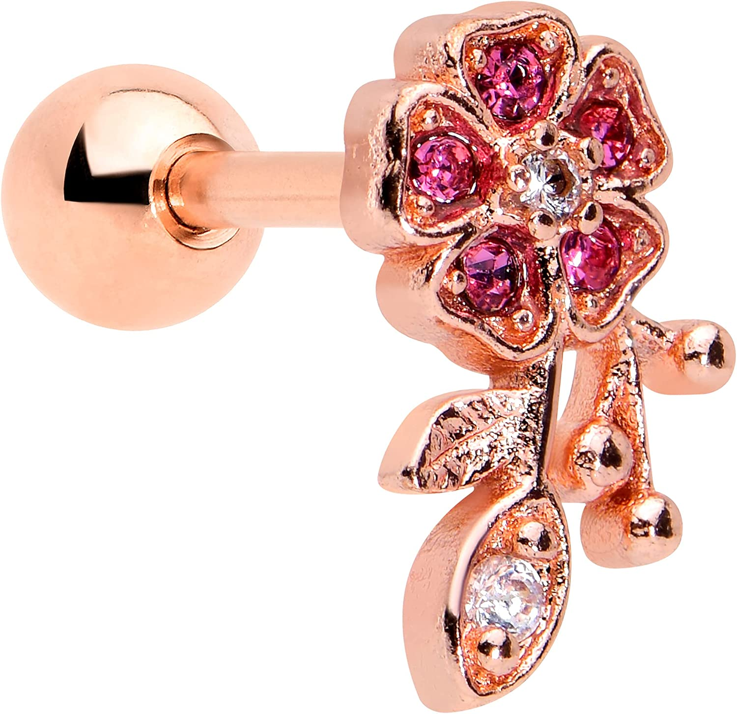 Body Candy 16G Womens PVD Steel Rosy Pink Accent Heart Flower Cartilage Earring Helix Tragus Jewelry 1/4