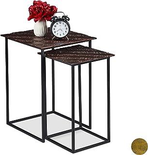 Relaxdays Table gigogne en Jeu de 2, Design Retro, carrées, pour Salon, métal, d'appoint 50,5 x 55,5 x 27,5 cm, Couleurs, ...