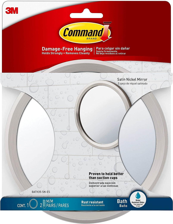 Command Bath Mirror Satin Selling rankings S Max 90% OFF Nickel 1-Mirror 2-Water-Resistant