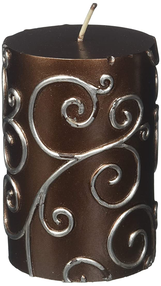 残りブリード枝Zest Candle CPS-005-12 3 x 4 in. Brown Scroll Pillar Candle -12pcs-Case- Bulk