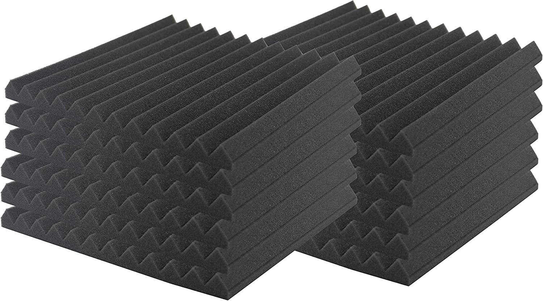 SK Studio Paquete de 12 Insonorización Espuma Absorción Aislamiento Acústica Paneles Tratamiento Conjunt Pared Para Podcasting Negro, 30x30x2.5cm