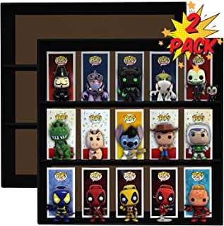2 Pack, Display Geek Exclusive Stackable Toy Shelves for 4 in. Vinyl Collectible Figures, Black Corrugated Cardboard