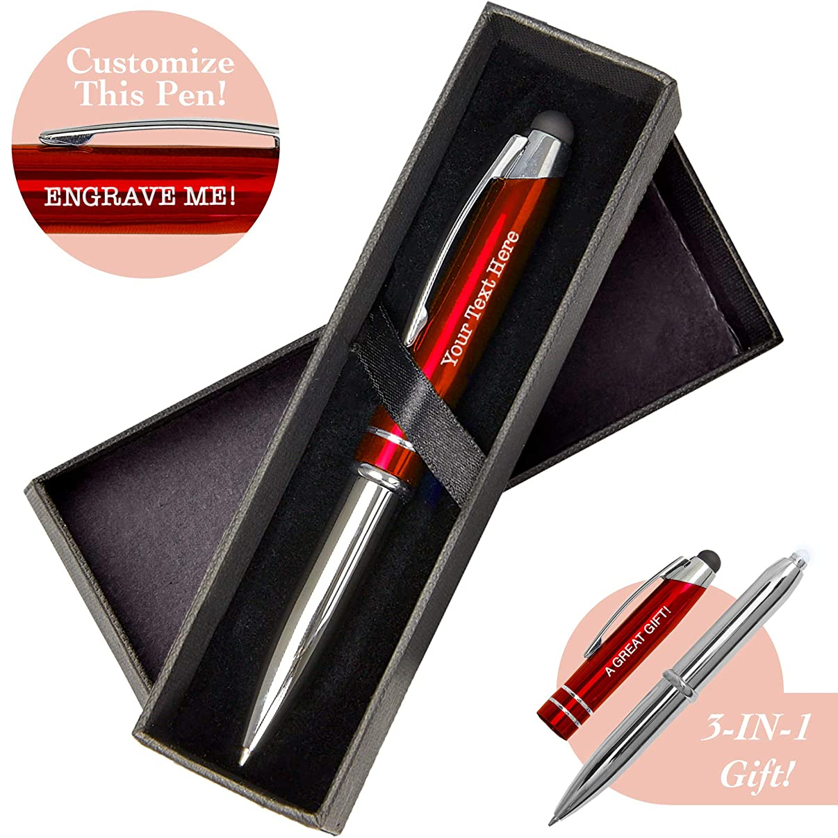 Red Custom Pen Stylus - Personalize and Customize Gifts and Branding with Free Laser Engraving - Multifunction Ballpoint Pen, Flashlight and Stylus for Tablets and Touchscreens – by SyPen