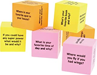 Juvale 6-Pack Conversation Starters Cubes, Kids Educational Activities, 3 Assorted Colors, 1.5 Inches