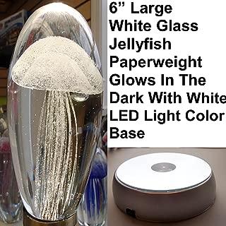 Large White Glass Jellyfish Paperweight 6