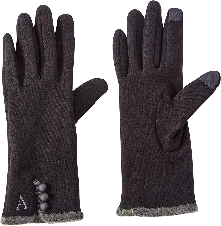 Mud Pie Women's Smart Screen Knit Gloves, Black, One Size