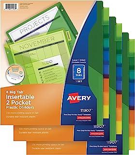 فواصل بلاستيكية من Avery 8-Tab مع جيوب، أشرطة كبيرة متعددة الألوان قابلة للإدخال، 3 مجموعات (11907)