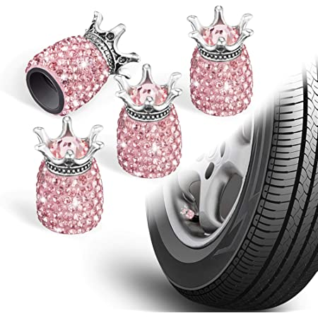 Black LEIWOOR 4 Pcs//Set Car Cap Tire Air Sealing Cap Crystal Diamond Universal Valve Cap Heart Car Decoration Car Cccessories Auto Products