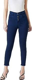 Miss Chase Women's Cropped Fringed Hemline Denim Jeans