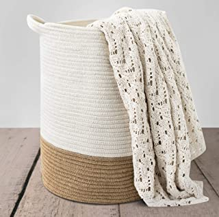"CHLOÉ + KAI Woven Storage Basket (18""×15.5""),Large Blanket Basket – Decorative Cotton Rope Basket for Nursery, Laundry, Li..."