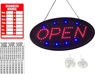 LED Open Sign Bundle for Business,Top Rank Lights, Open Sign Bundel 19x10 Flashing Advertisement Board Includes Business Hour Sign and Two Suction Cup Hooks