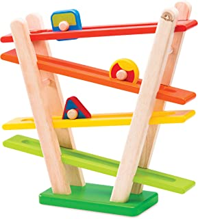 Top Right Toys Wooden Marble Run Set; Colorful Roller Frame and 3 Assorted Shaped Wheels