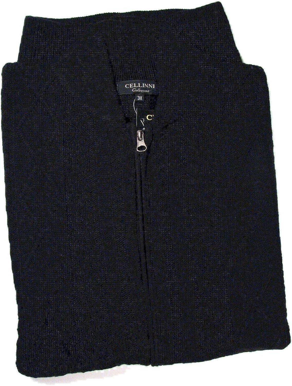 Cellini Big and Tall 5800-836 L/S Full Zip Sweater Black