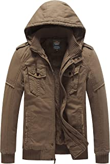 Men's Winter Thicken Cotton Parka Jacket with Removable Hood