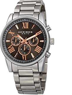 Akribos XXIV Men's Multifunction Watch - 3 Subdials Day Date GMT On a Stainless Steel Bracelet - AK912