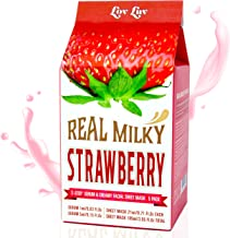LOVLUV Real Milky Strawberry Face Masks, K Beauty Moisturizing and Hydrating Facial Sheet Set, Two-Step Skin Care Essence [5 Pack]