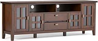 Simpli Home Artisan Solid Wood 72 inch wide Contemporary TV media Stand in Medium Auburn Brown For TVs up to 80 inches