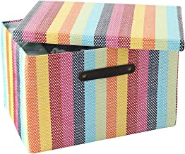 TheWarmHome Storage Box with Lid, Basket with Lid for Organizing, Decorative Baskets for Closet, Decorative Storage Box, C...