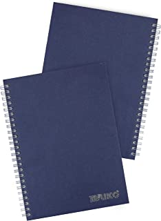 Miliko A5 Size Kraft Paper Hardcover Dot Grid Wirebound/Spiral Notebook/Journal-2 Notebooks Per Pack-70 Sheets (140 Pages)-8.27 Inches x 5.67 Inches(Silver Binding Rings, Blue Dot Grid)