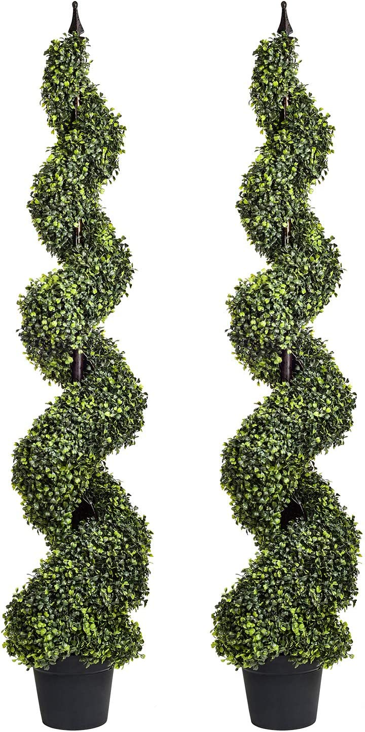 Wofair 2 Packs 4 Feet Artificial Topiary Spiral Home 25% OFF Trees for free shipping D