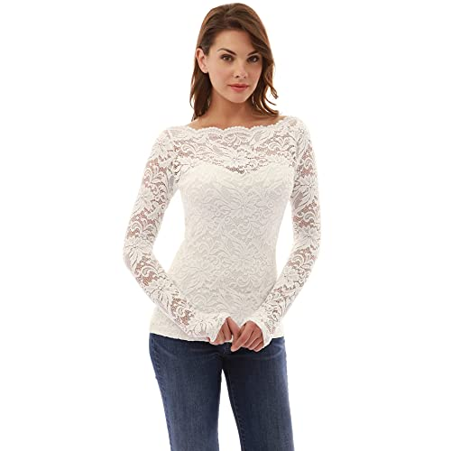 5622b400fe Women's White Lace Blouse: Amazon.com