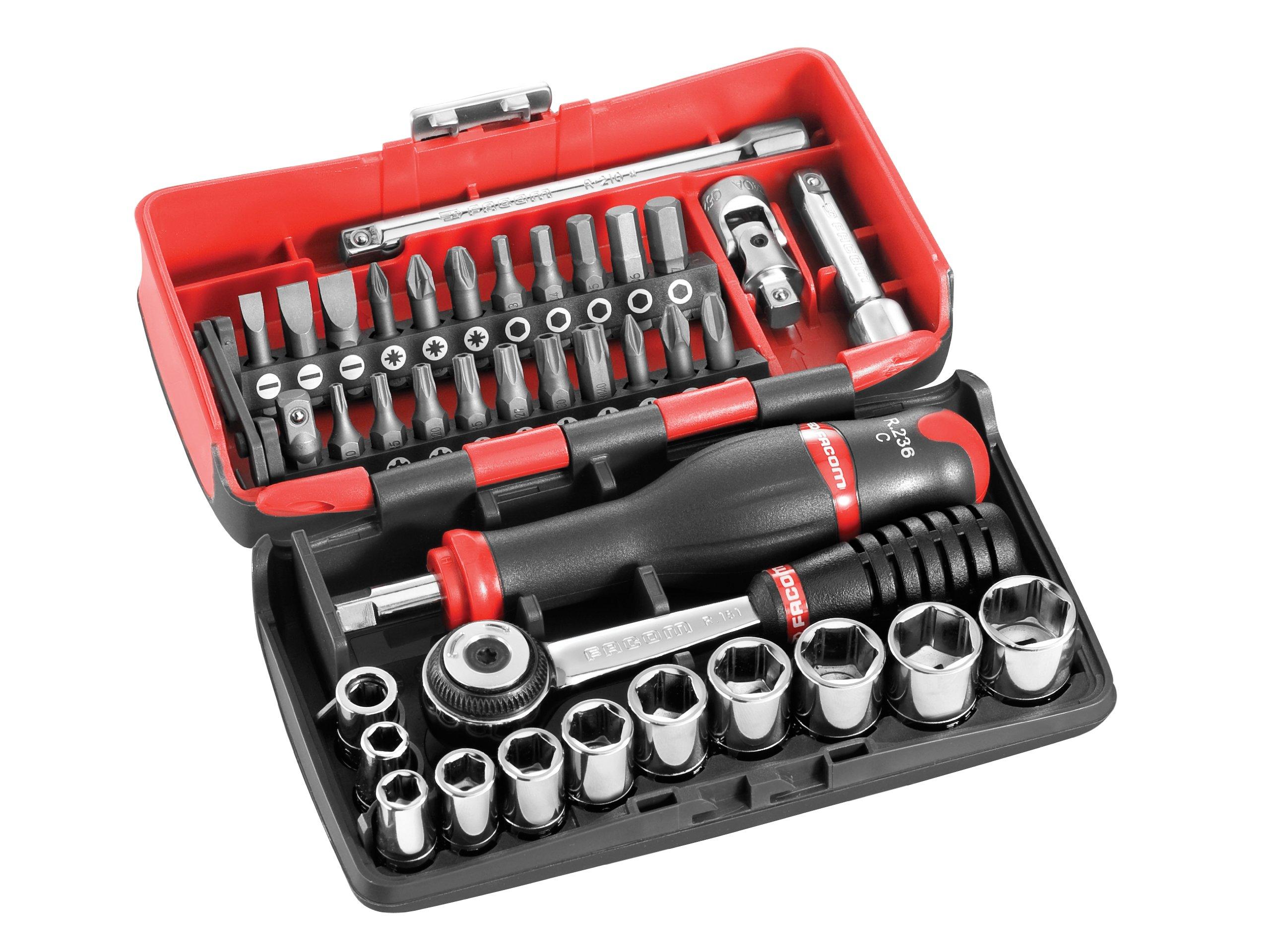 Facom R2NANO Vasos 1/4 (5,5-14 mm) +Accesorios, Rojo y negro: Amazon.es: Bricolaje y herramientas