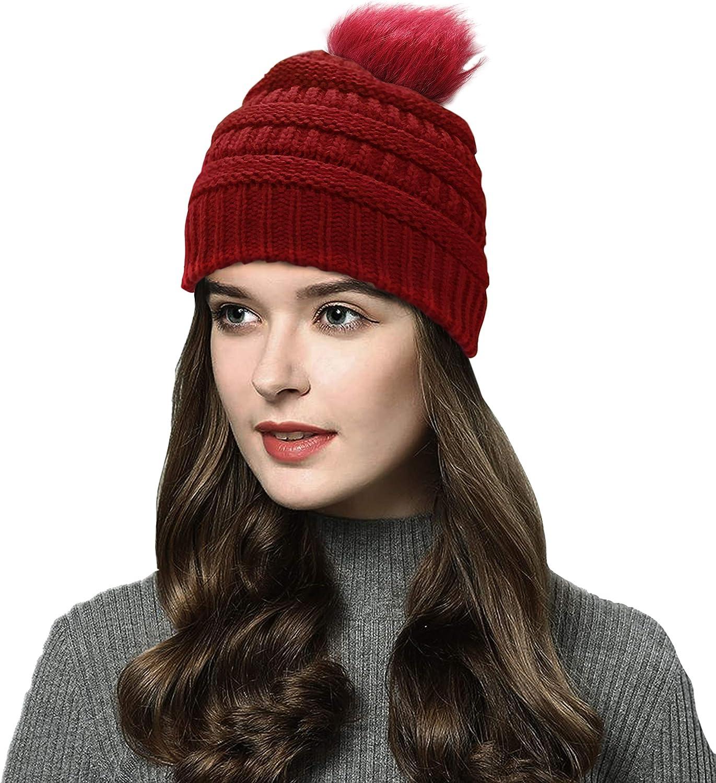 Beanie Winter Hat Women Winter Hat Knit Hat Slouch Hat Pom Pom Hat Cable Hat Pom Beanie Cable Beanie Toque Faux Fur Pom,