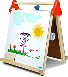 DISCOVERY KIDS 3-in-1 Tabletop Dry Erase Chalkboard Painting Art Easel, Includes Paper Roll and Oversized Clip, 17 x 15 Inch Wood Frame, Perfect for Children 3+ | Foldable/Portable for Countertop Play
