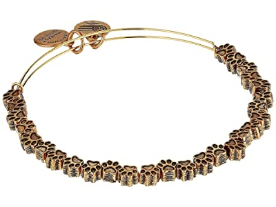 Alex and Ani Paw Print Beaded Bangle (Rafaelian Gold) Bracelet