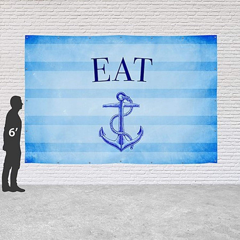 Nautical Stripes Heavy-Duty Outdoor Vinyl Banner CGSignLab 12x8 Eat