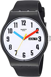 Swatch BAU Quartz Silicone Strap, Black, 20 Casual Watch (Model: SUOB728)