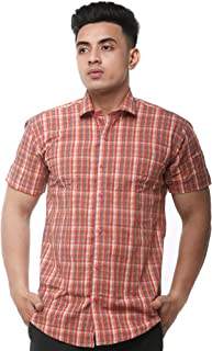 JPF Smart Stewart Mens Cotton Regular Fit Formal Half Sleeve Shirt with Pocket Colorful Summer Casual Clothing (Red with Blue)