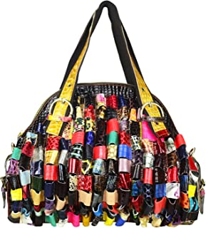 Multicolor Woven Bohemian Large Tote Snake Print Patchwork Colorful Big Bag
