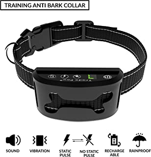 Trade Paw Dog Bark Collar Upgraded 2019 IP-67 Smart Sensor Training Anti Barking Control Device Adjustable Collar Rechargeable Beep/Vibration/Shock 7 Sensitivity for Small Medium Large 10 lbs-120 lbs