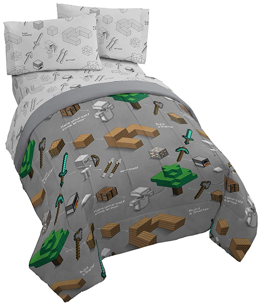 Jay Franco Minecraft Survive 4 Piece Twin Bed Set - Includes Reversible Comforter & Sheet Set - Super Soft Fade Resistant Polyester - (Official Minecraft Product)