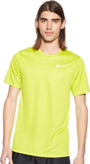Nike Men's DF BRTHE Run Top SS, Silver(Bright Cactus/Reflective Silv322), Medium