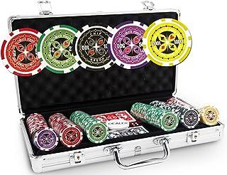 Pokeo Ultimate Pokerkoffer 300 chips – set met 300 pokerchips 13,5 g + aluminium koffer + 2 kaartspellen 100% kunststof + ...