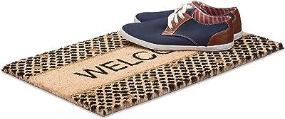Relaxdays Welcome Coir Doormat, HxWxD: 1.5 x 60 x 40 cm, Glitter, Rectangular, Nonslip, Coconut Fibre, Rubber, Multicolour, 40 x 60 x 1.5 cm