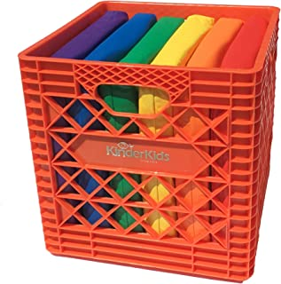KinderMat, Orange KinderCrate, 6-Pack of 13.5 inch KinderCushions and Sturdy Storage Container, 2 inches Thick Squares Story Time Cushions, Alternative Seating, Yellow Blue Green RedPurple Orange