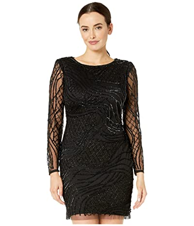 Adrianna Papell Beaded Long Sleeve Dress (Black) Women