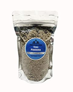 PERUVIAN HERB Tres Pimienta - Gourmet Sea Salt with Red, White, and Black Pepper from Maras, Peru 8 oz