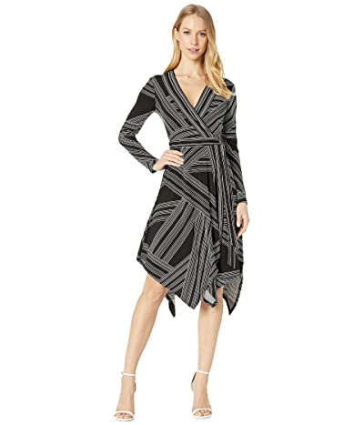 BCBGMAXAZRIA Wrap Dress (Optic White/Straight Stripe) Women