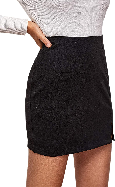 SheIn Womens High Waist Split Hem Mini Skirt Solid Zipper Straight Skirts