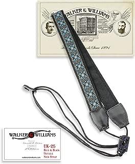 Walker & Williams UK-25 Blue, Grey & Black Woven Cotton & Nylon Adjustable Ukulele Strap for Any Size Uke