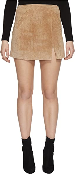 Blank NYC Real Suede Mini Skirt in Desert Sand