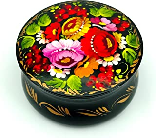 UA Creations Small Lacquer Box for Jewelry, Earrings, Necklace and Rings, Floral Hand Painted Gift for Girls and Women