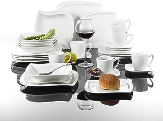 MALACASA, Série Elvira, 60pcs Services de Table Complets Porcelaine, 12 Tasses, 12 Soucoupe, 12 Assiettes à Dessert, 12 As...