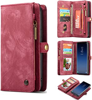 Galaxy S9 Wallet Case,AKHVRS Handmade Premium Cowhide Leather Wallet Case,Zipper Wallet Case [Magnetic Closure]Detachable Magnetic Case & Card Slots for Samsung Galaxy S9 - Red