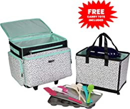 Everything Mary Kitchen Stand Mixer Rolling Storage Travel Case for KitchenAid & Accessories – Compatible with 3.5-5 QT KitchenAid Mixers – Includes Carrying Tote & Workspace Mat